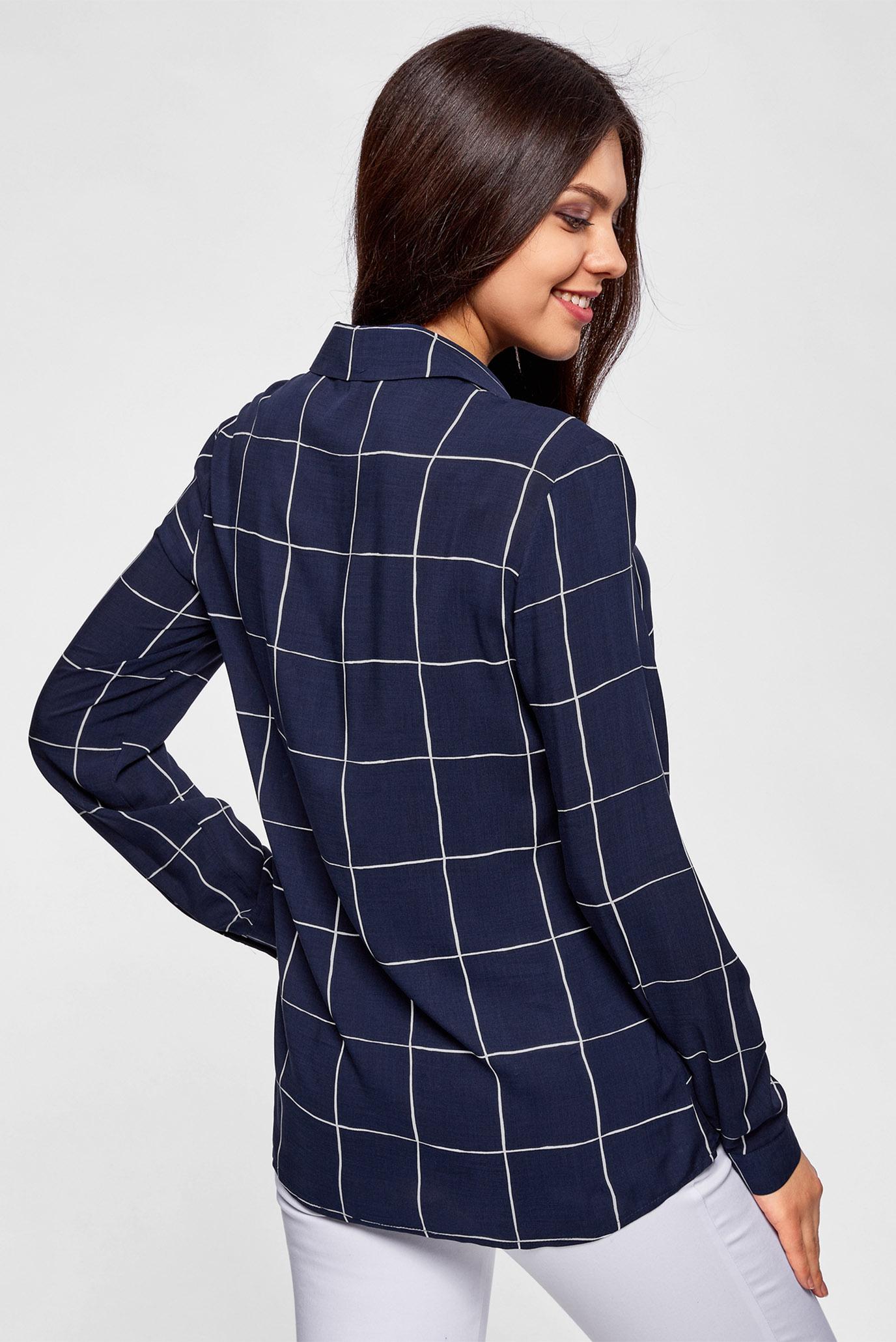 Купить Женская синяя блуза в клетку Oodji Oodji 11411098-3/24681/7912C – Киев, Украина. Цены в интернет магазине MD Fashion