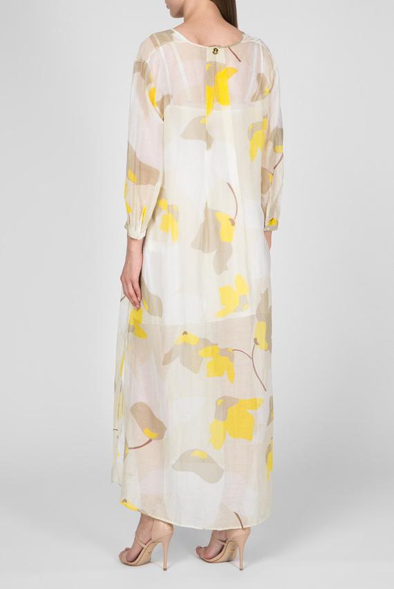 Женское бежевое платье с принтом