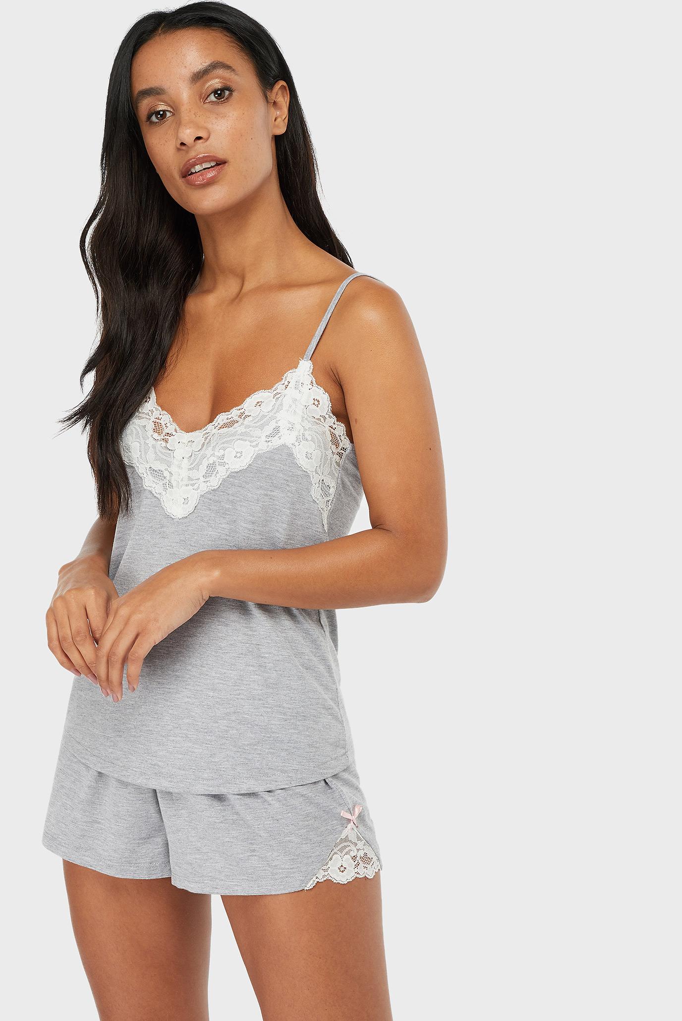 Женская серая пижама Teya Plain Vest Set 1