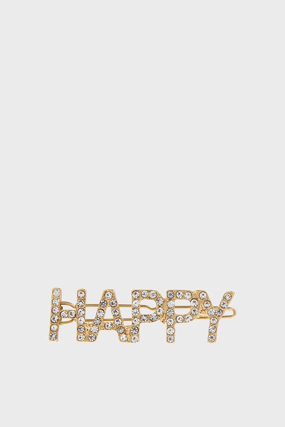 Женская золотистая заколка HAPPY CRYSTAL SLOGAN