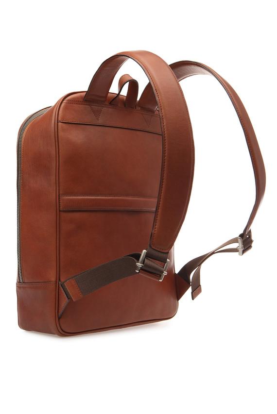 Мужской рыжий кожаный рюкзак