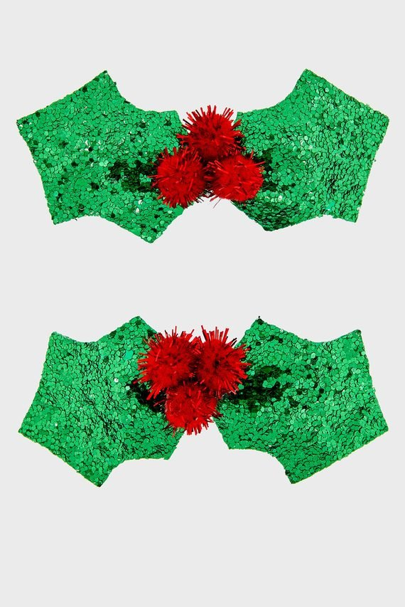 Женские зеленые заколки (2 шт) GLITTER HOLY CLIC