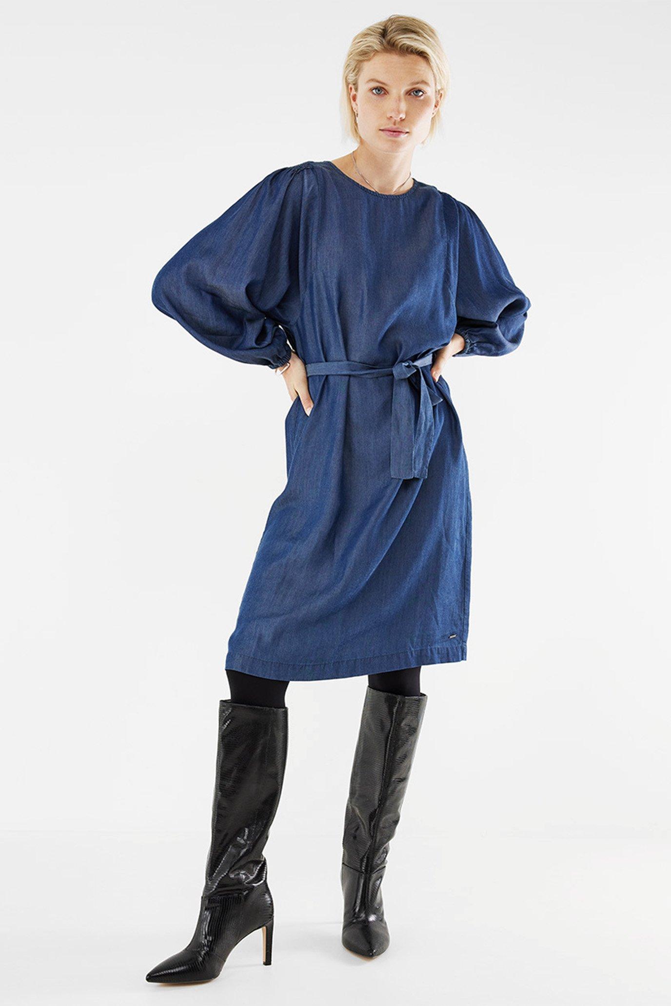 Женское синее джинсовое платье 1