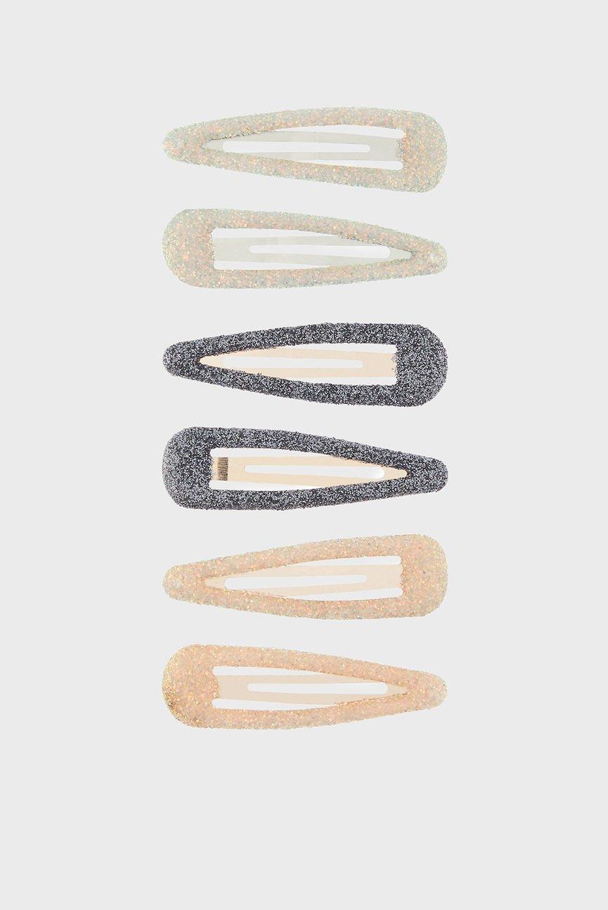 Набор заколок для волос (6 шт) GLITTER SNAP CLIP