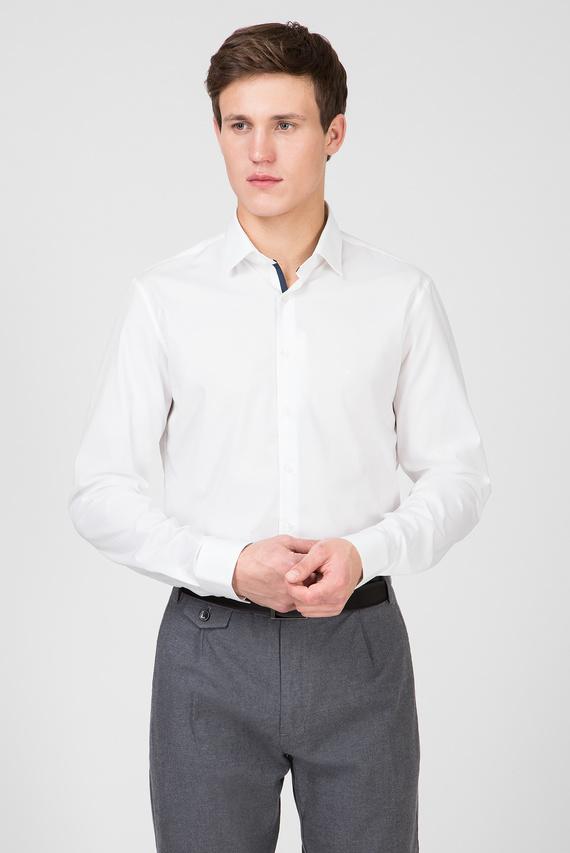 Мужская белая рубашка 2PLY POPLIN STRETCH SLIM 411