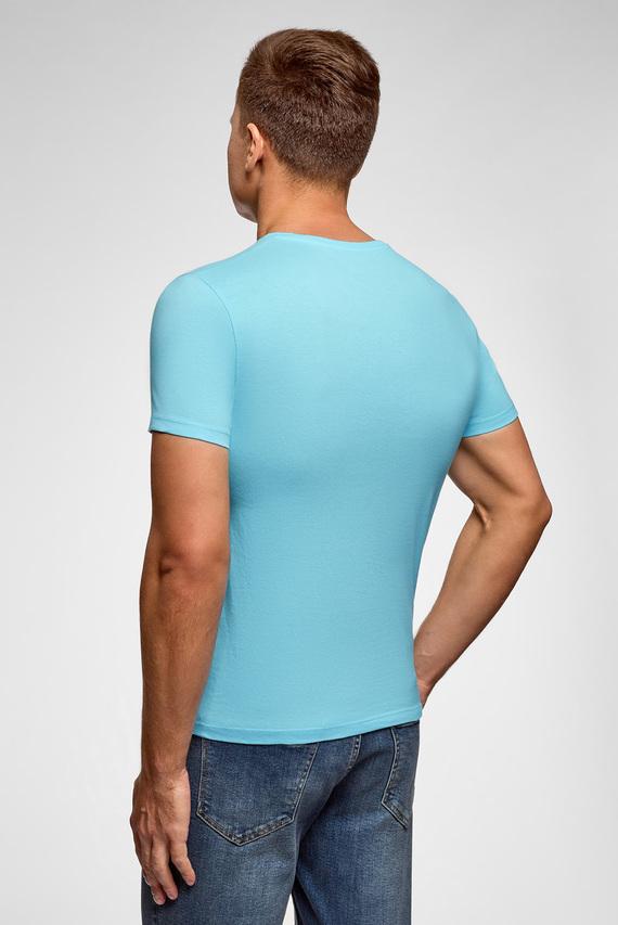Мужская голубая футболка с принтом
