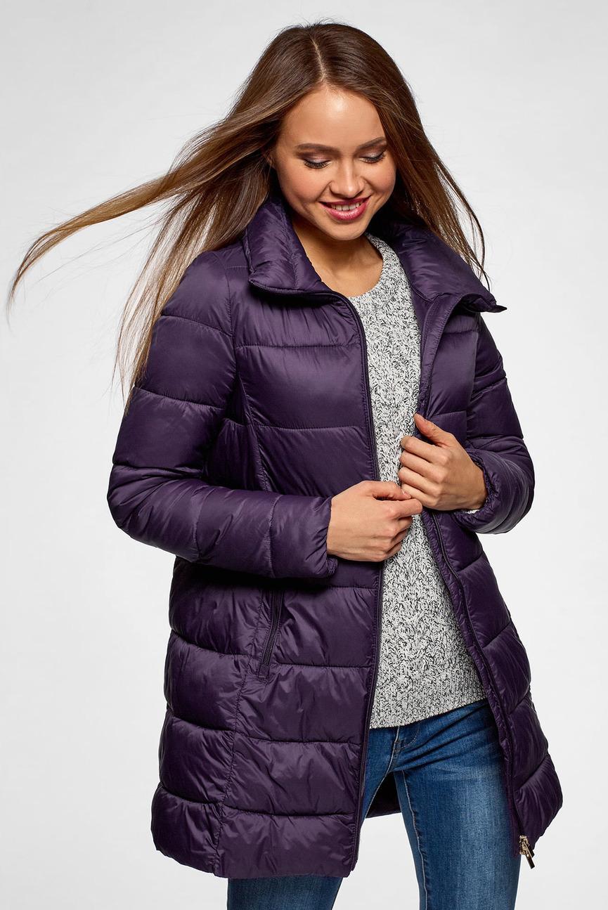 Женская фиолетовая удлиненная куртка