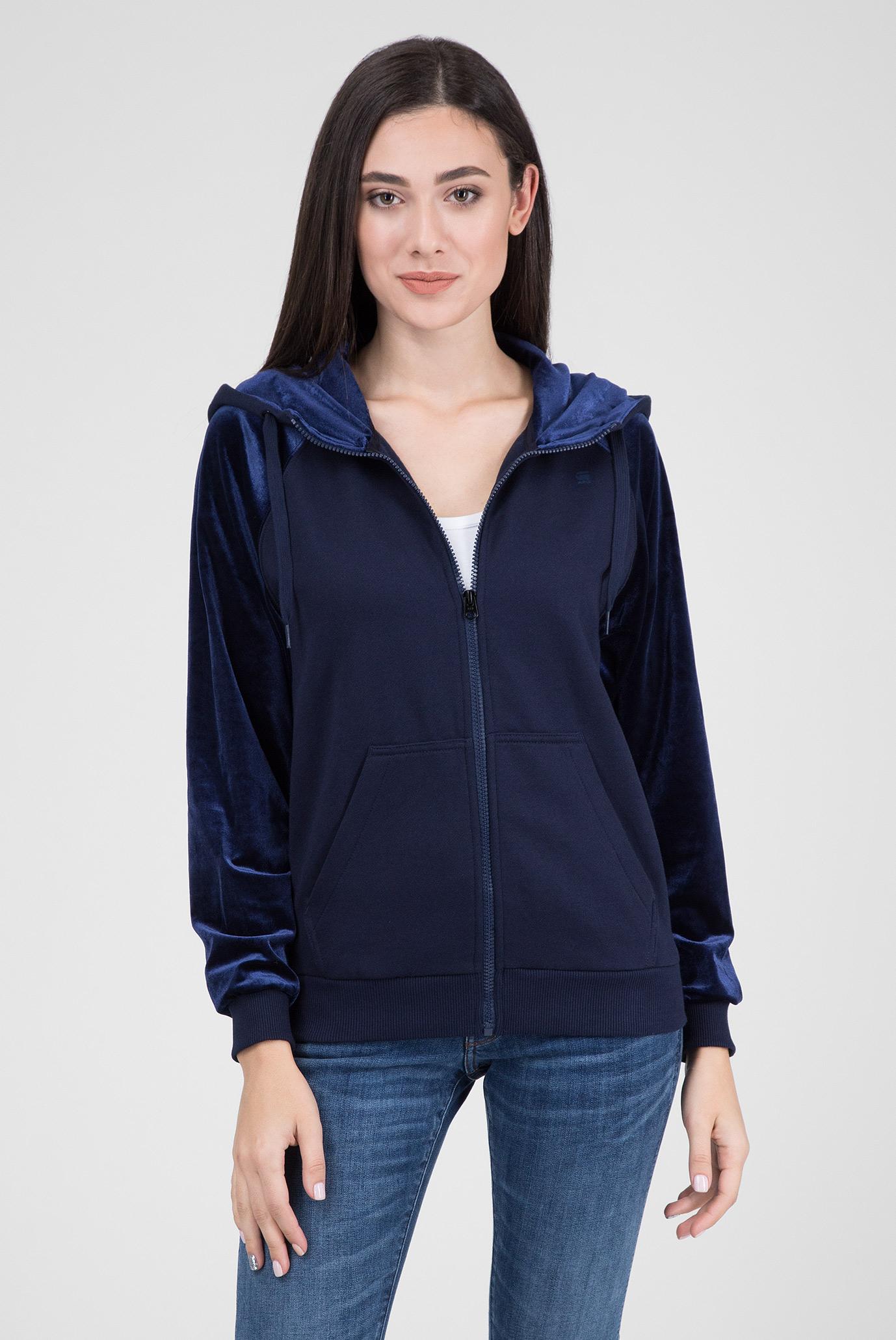 Женское синее велюровое худи 1