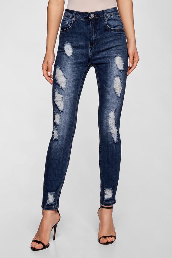 Женские синие джинсы с прорехами