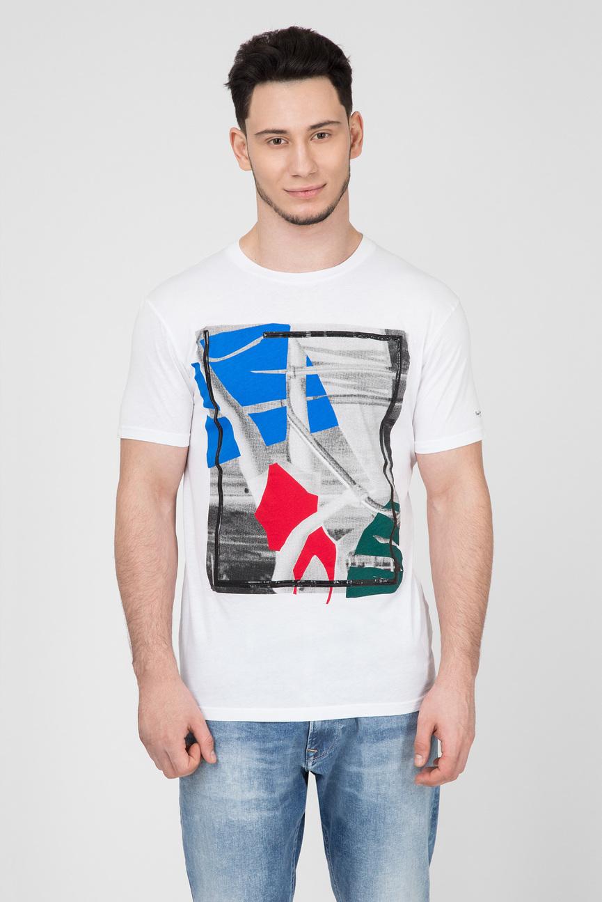 Мужская белая футболка с принтом OLIVER