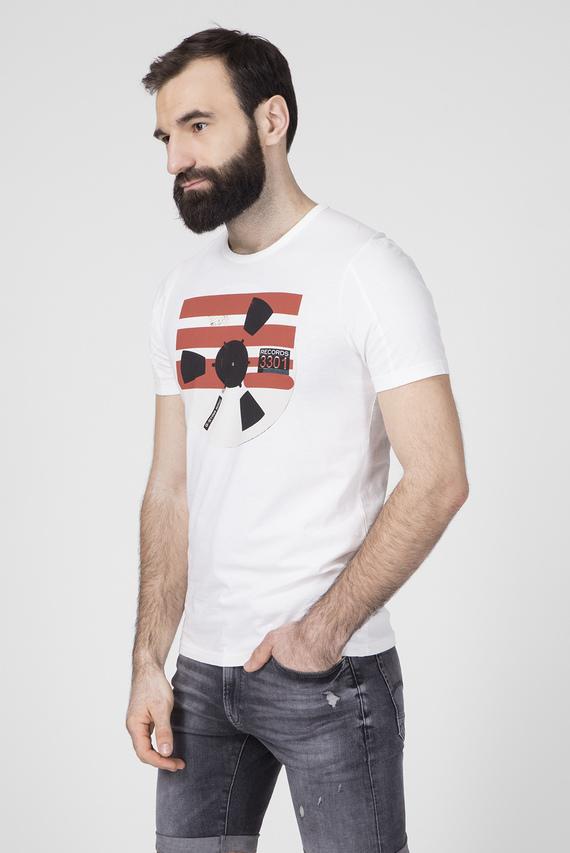 Мужская белая футболка с принтом Record reel