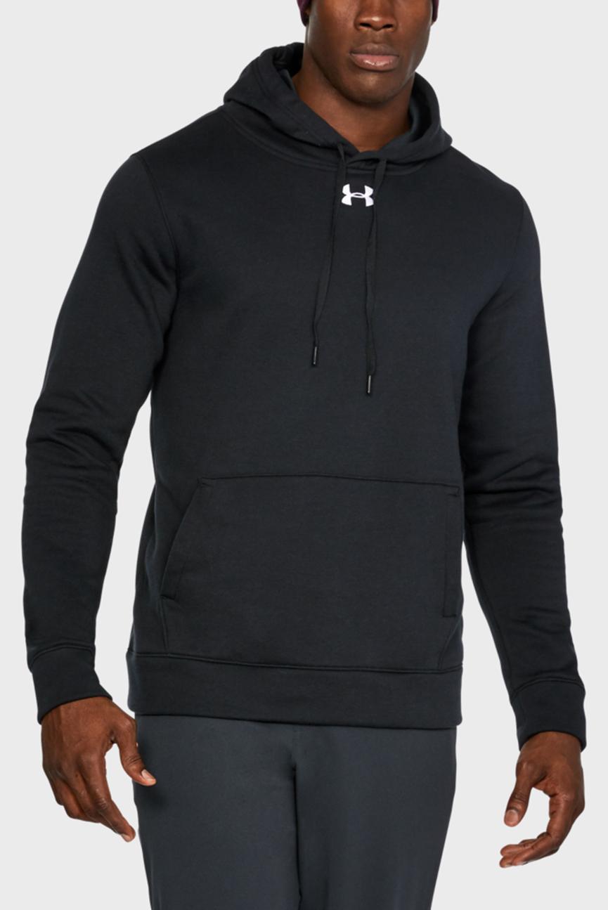 Мужское черное худи UA M's Hustle Fleece Hoody