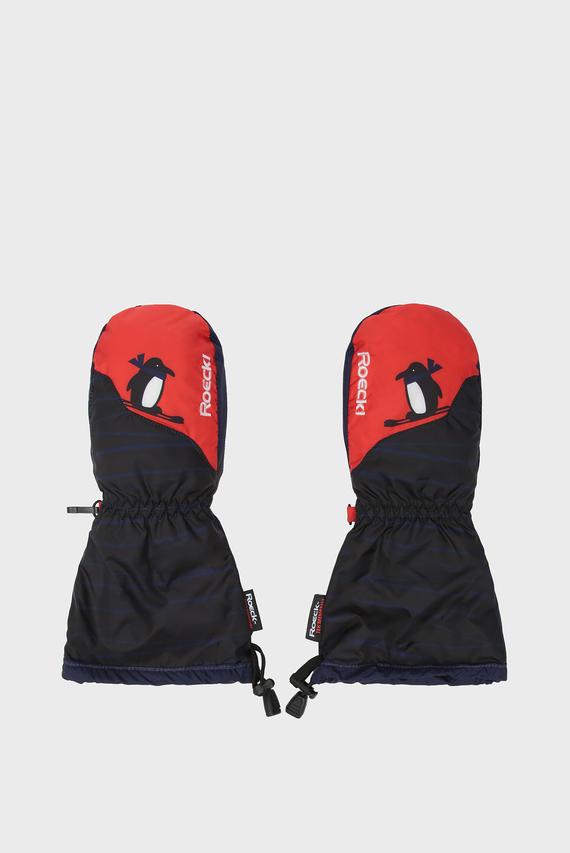 Детские темно-синие лыжные перчатки