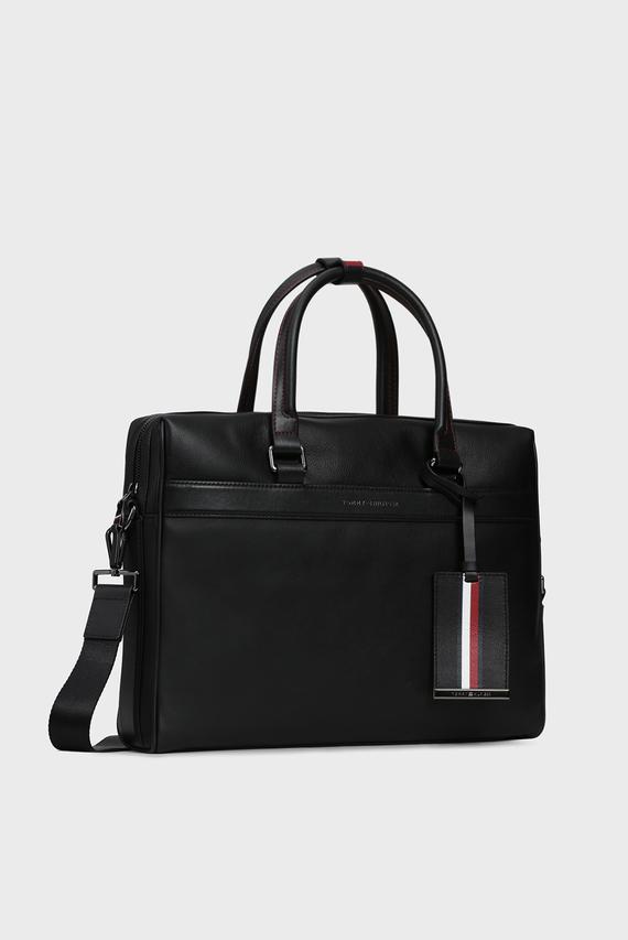 Мужская черная кожаная сумка для ноутбука TH LEATHER COMPUTER BAG