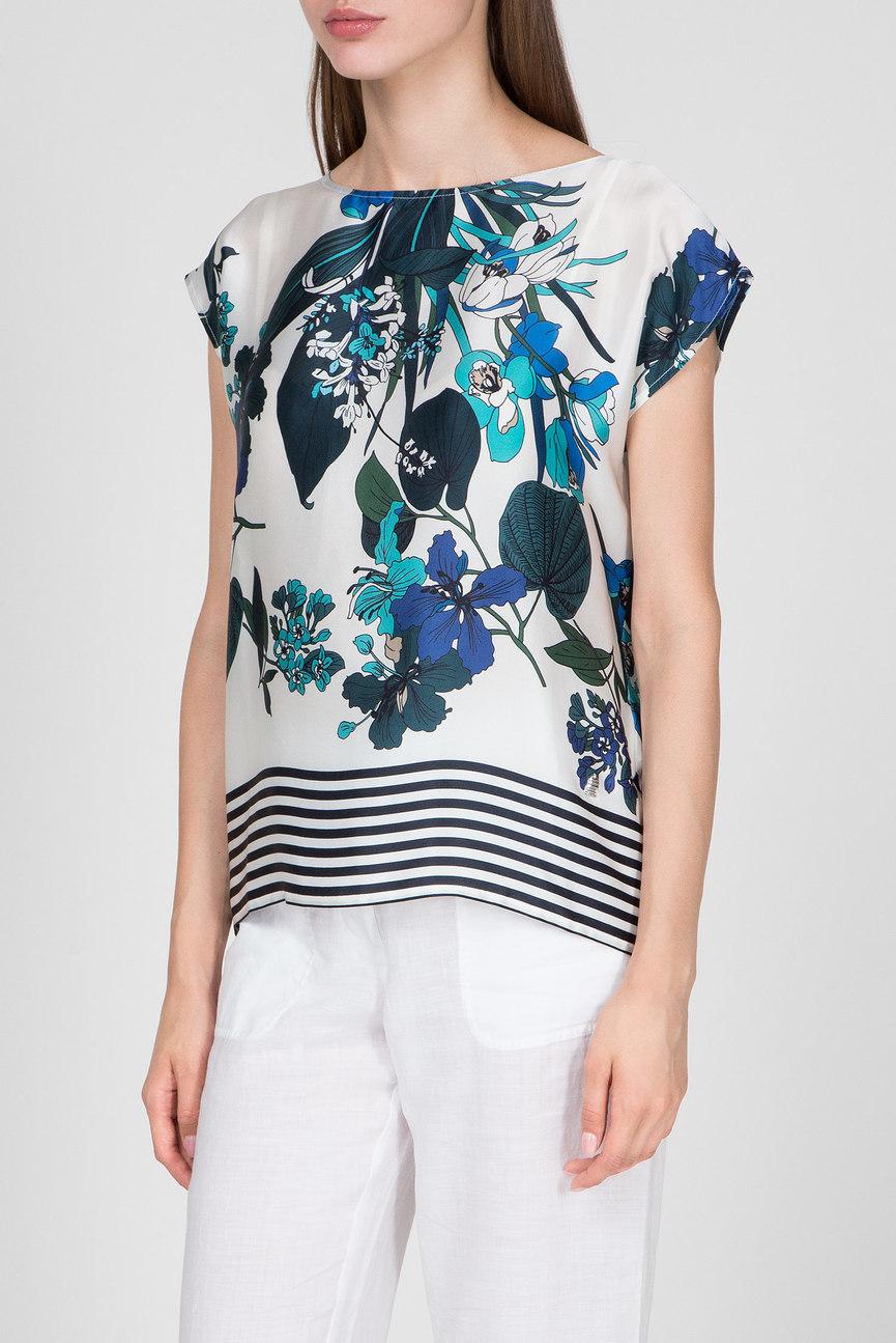 Женская белая шелковая блуза с принтом