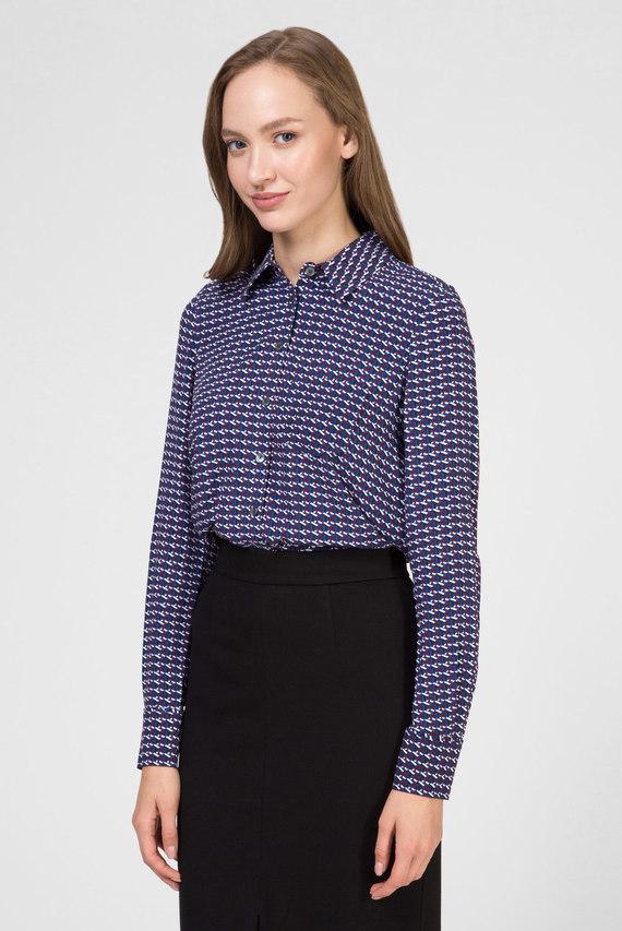 Женская темно-синяя блуза с принтом ANGIE