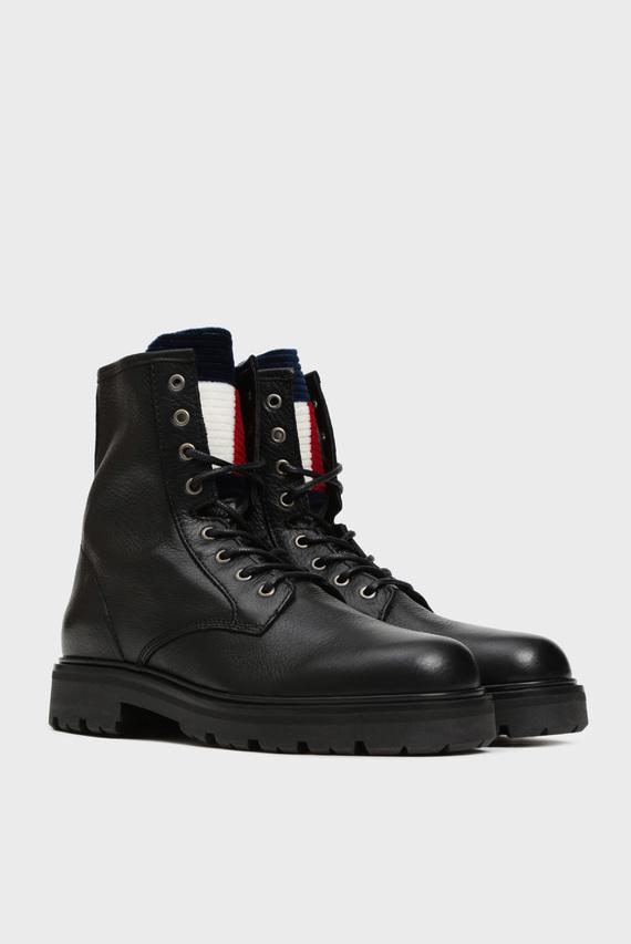 Женские черные кожаные ботинки PADDED TONGUE