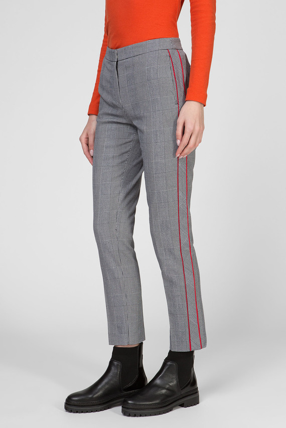 Женские серые брюки в клетку FAUNA SLIM PANT