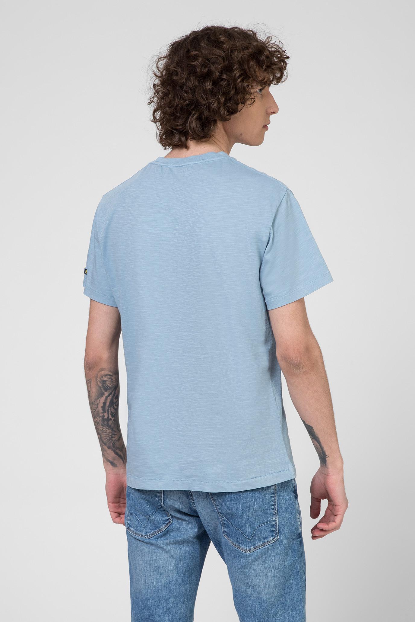 Мужская голубая футболка с принтом HARVEY Pepe Jeans