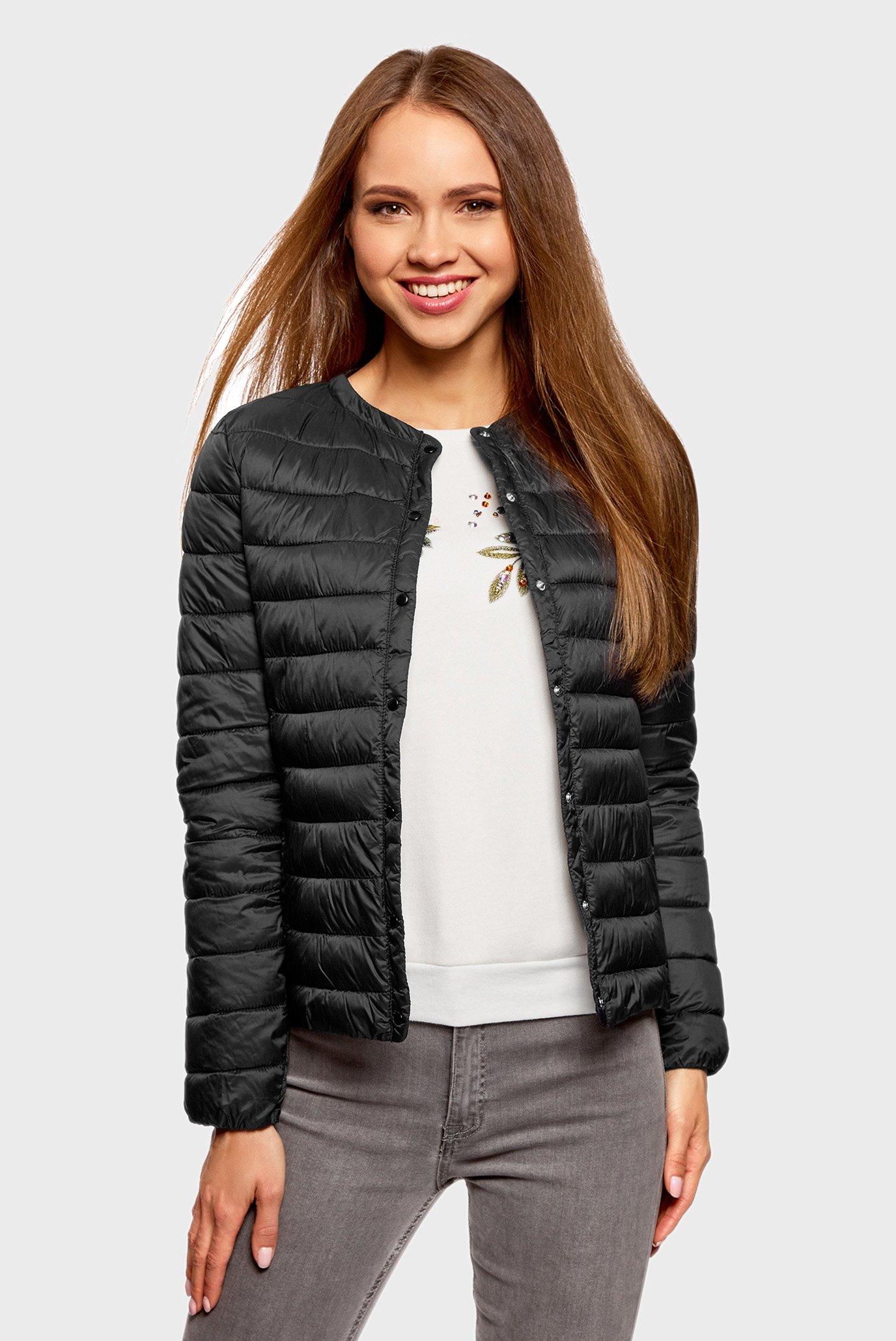 9a4152a73f0 Купить Женская черная стеганая куртка Oodji Oodji 10204040B 45638 2900N –  Киев