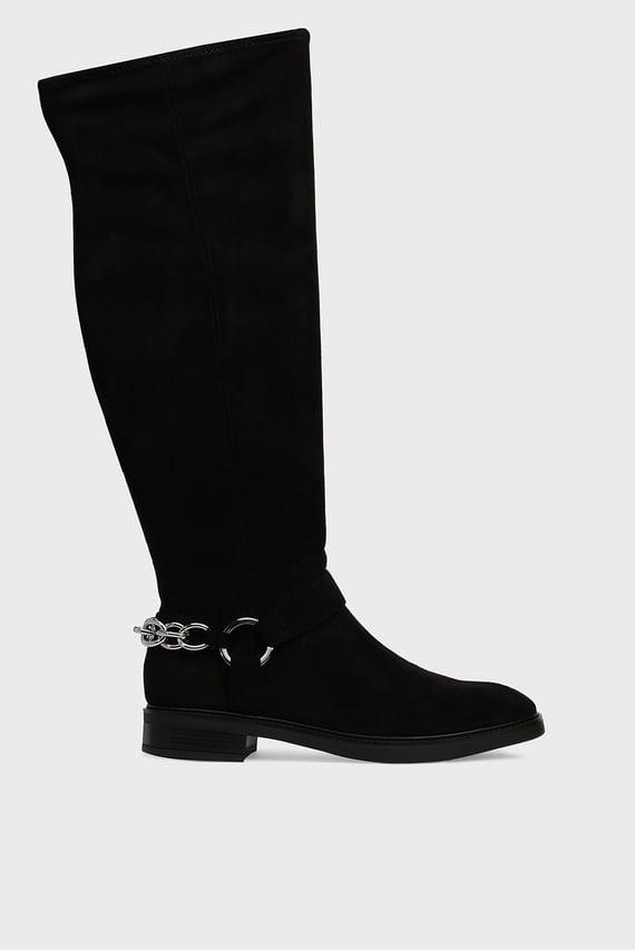 Женские черные ботфорты FEMI