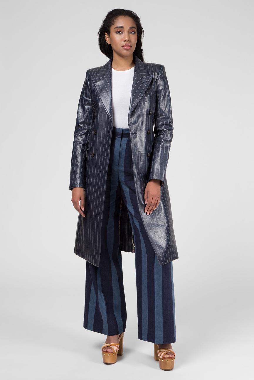 Женское темно-синее двубортное пальто в полоску ZENDAYA