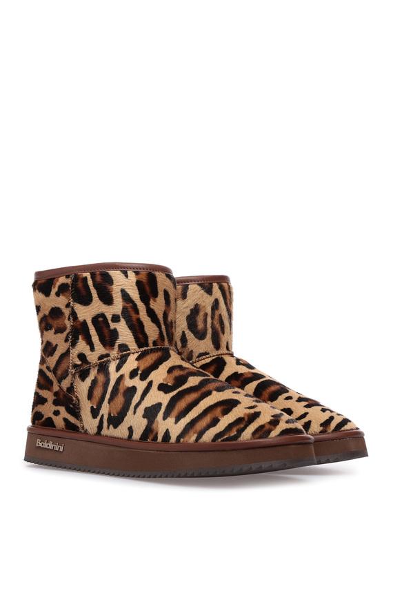 Женские леопардовые угги с мехом