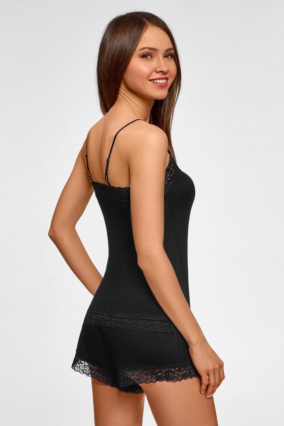 Женская черная пижама (шортики, майка)