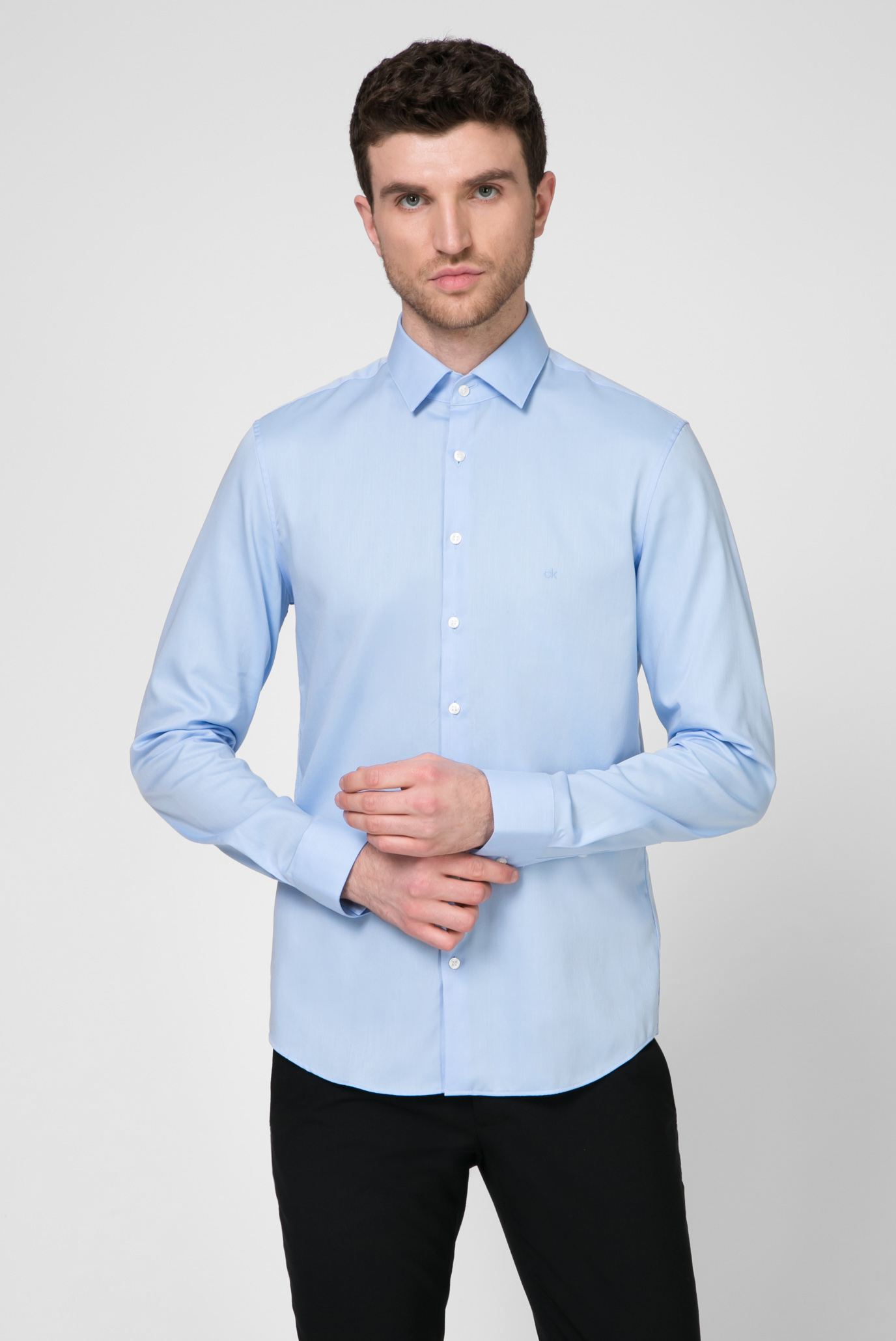 Мужская голубая рубашка EASY IRON 1