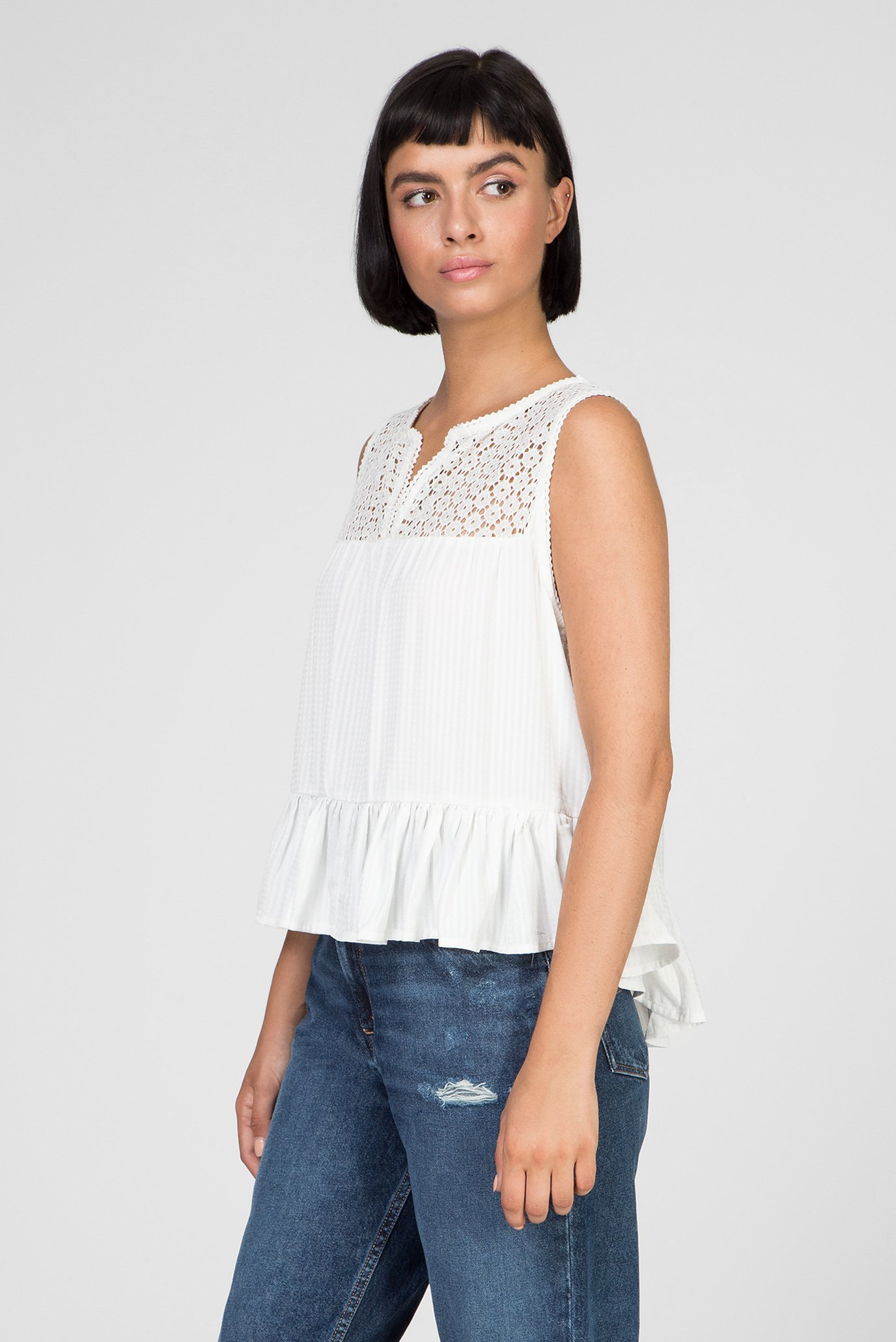 Женская белая блуза TJW SUMMER LACE PEPLUM TOP Tommy Jeans