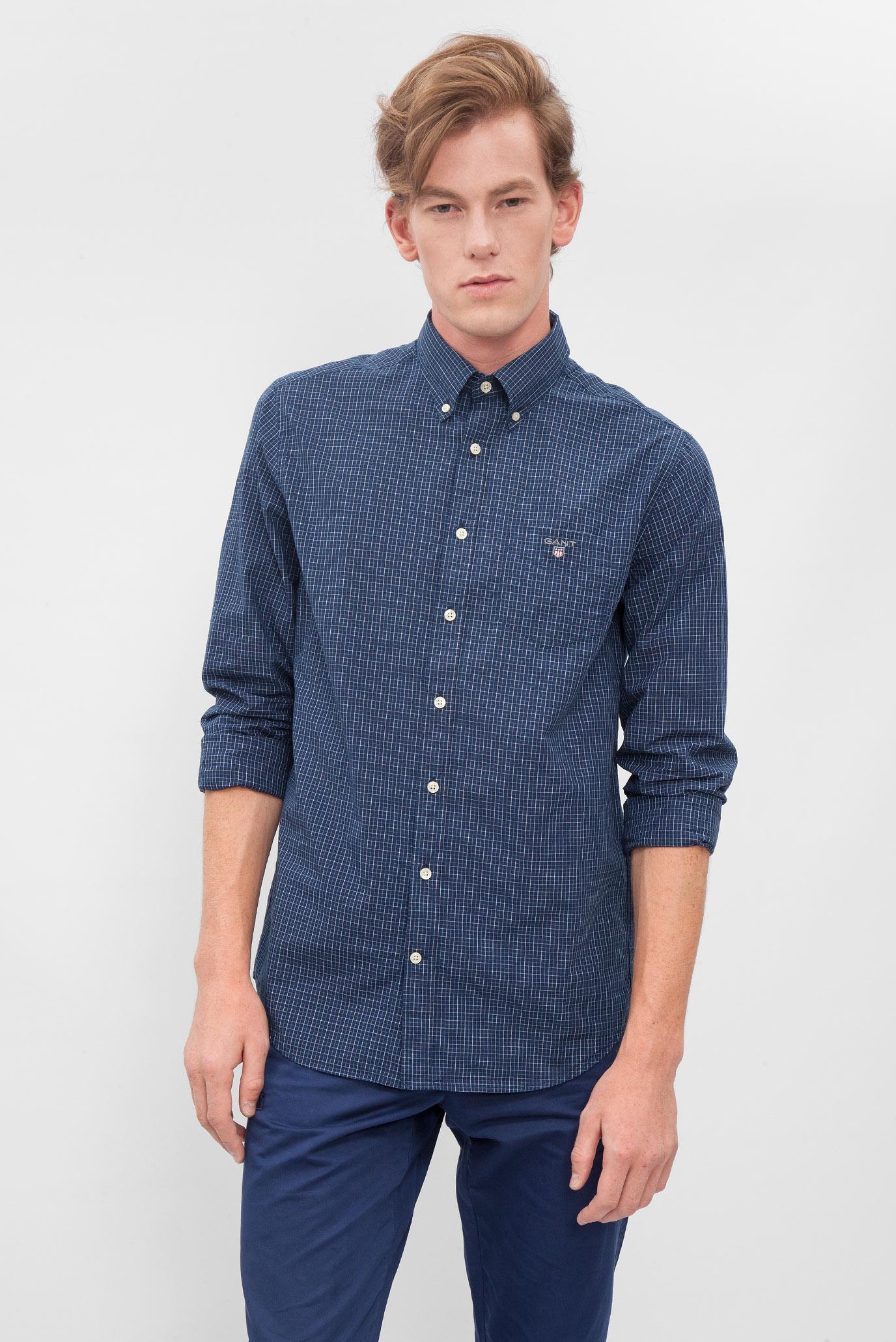 fa44c24aefd Купить Мужская темно-синяя рубашка в клетку Gant Gant 365560 – Киев ...