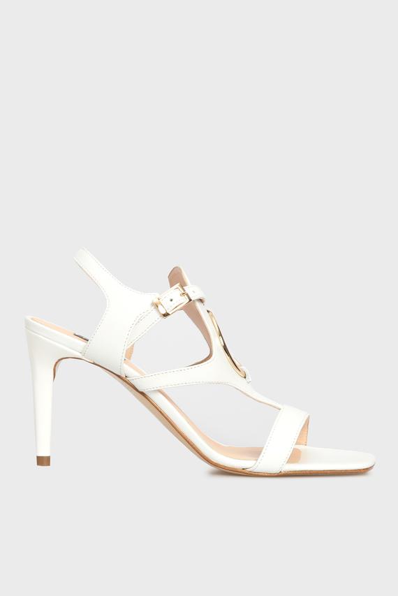 Женские белые кожаные босоножки LA DIGUE