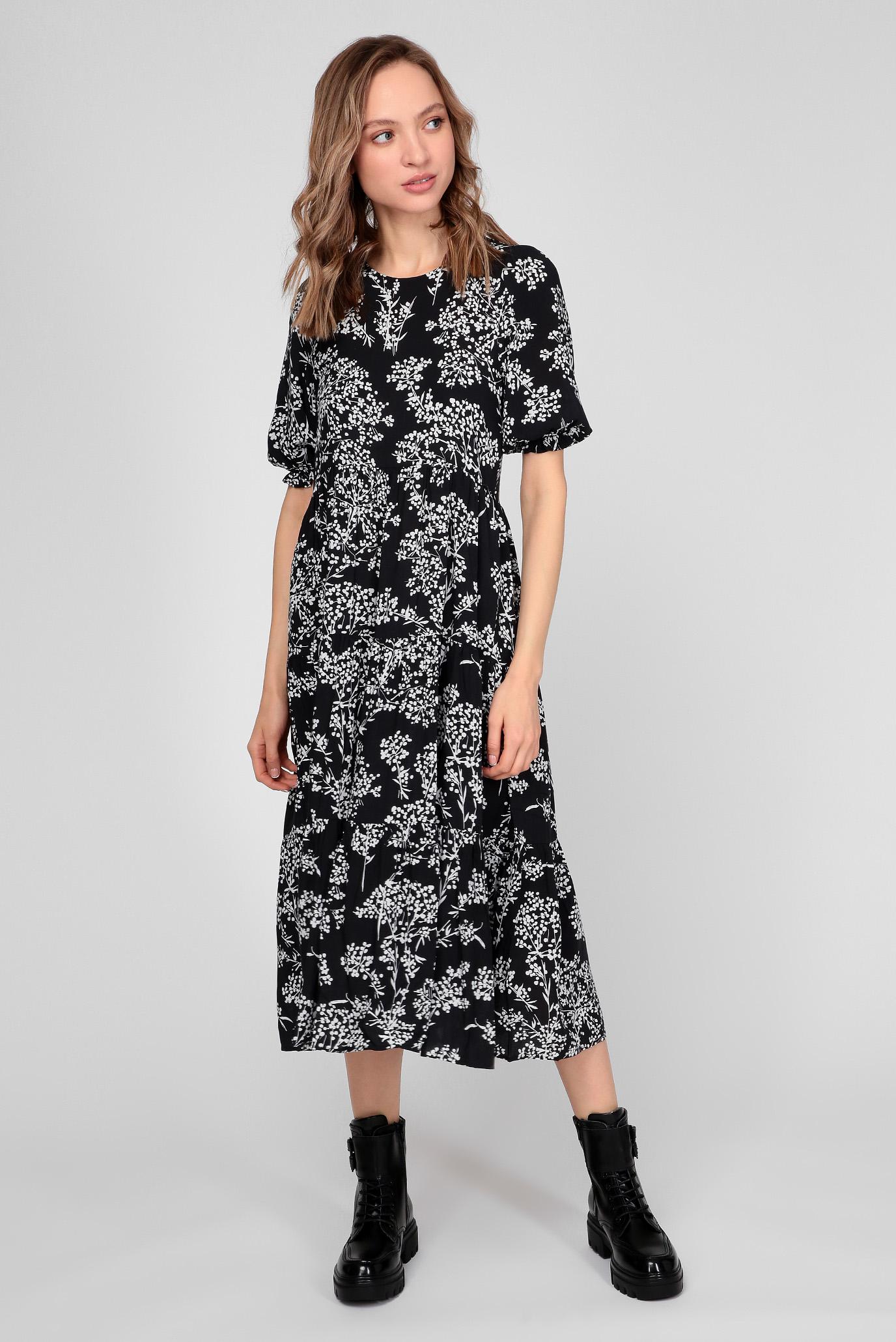 Жіноча темно-синя сукня з візерунком 1