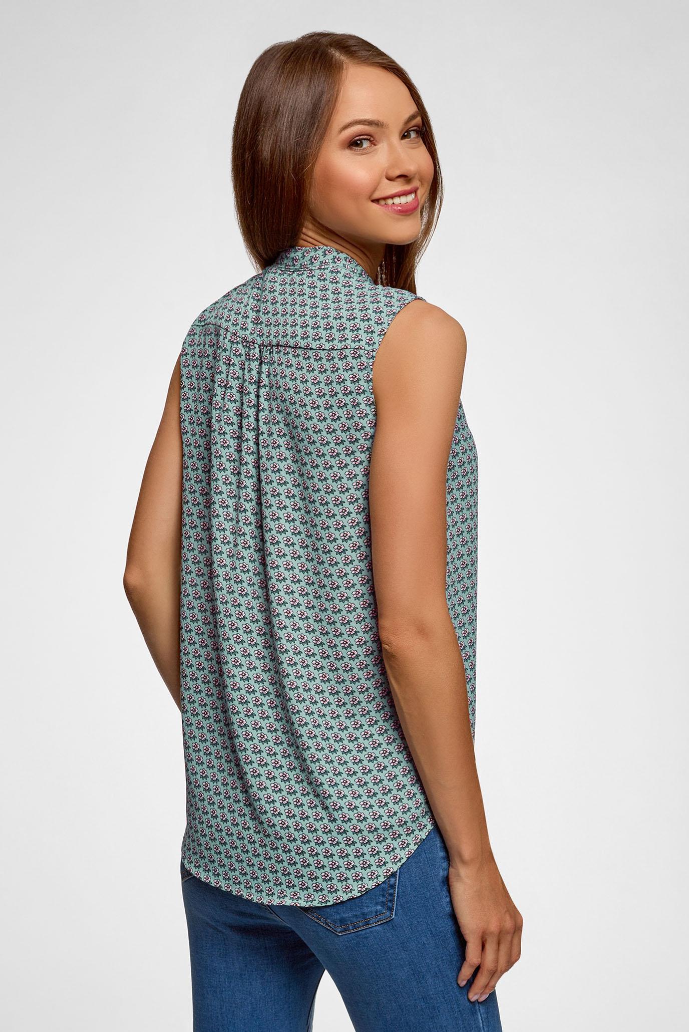 Купить Женская зеленая блуза с принтом Oodji Oodji 24911002-1/36215/6040F – Киев, Украина. Цены в интернет магазине MD Fashion