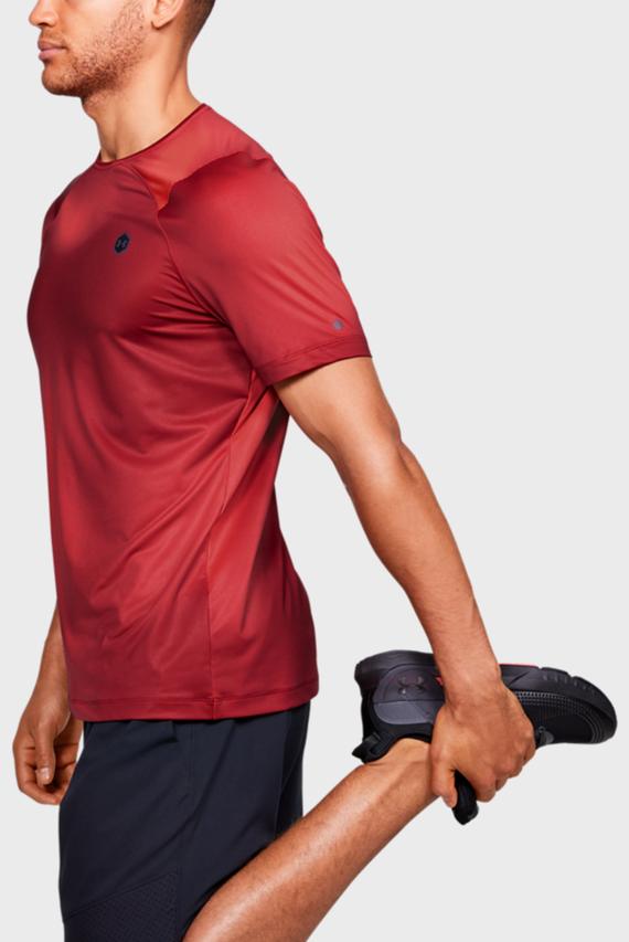 Мужская красная спортивная футболка UA HG Rush Fitted SS Printed