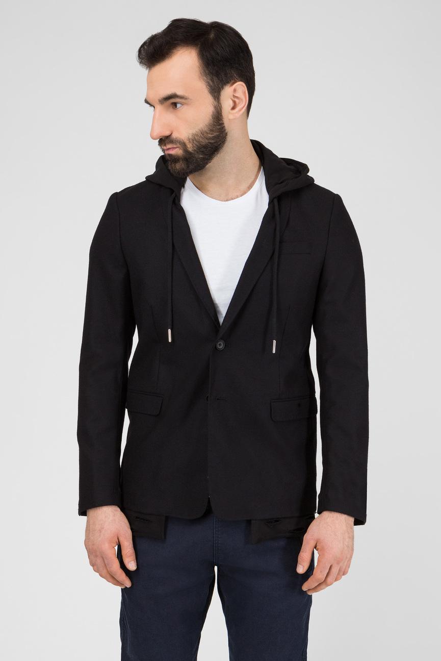 Мужской черный шерстяной пиджак J-TROUBLE GIACCA