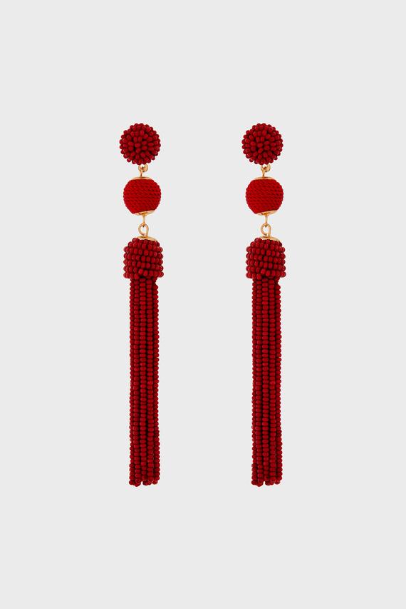 Женские красные серьги BEAD AND BALL TASSEL