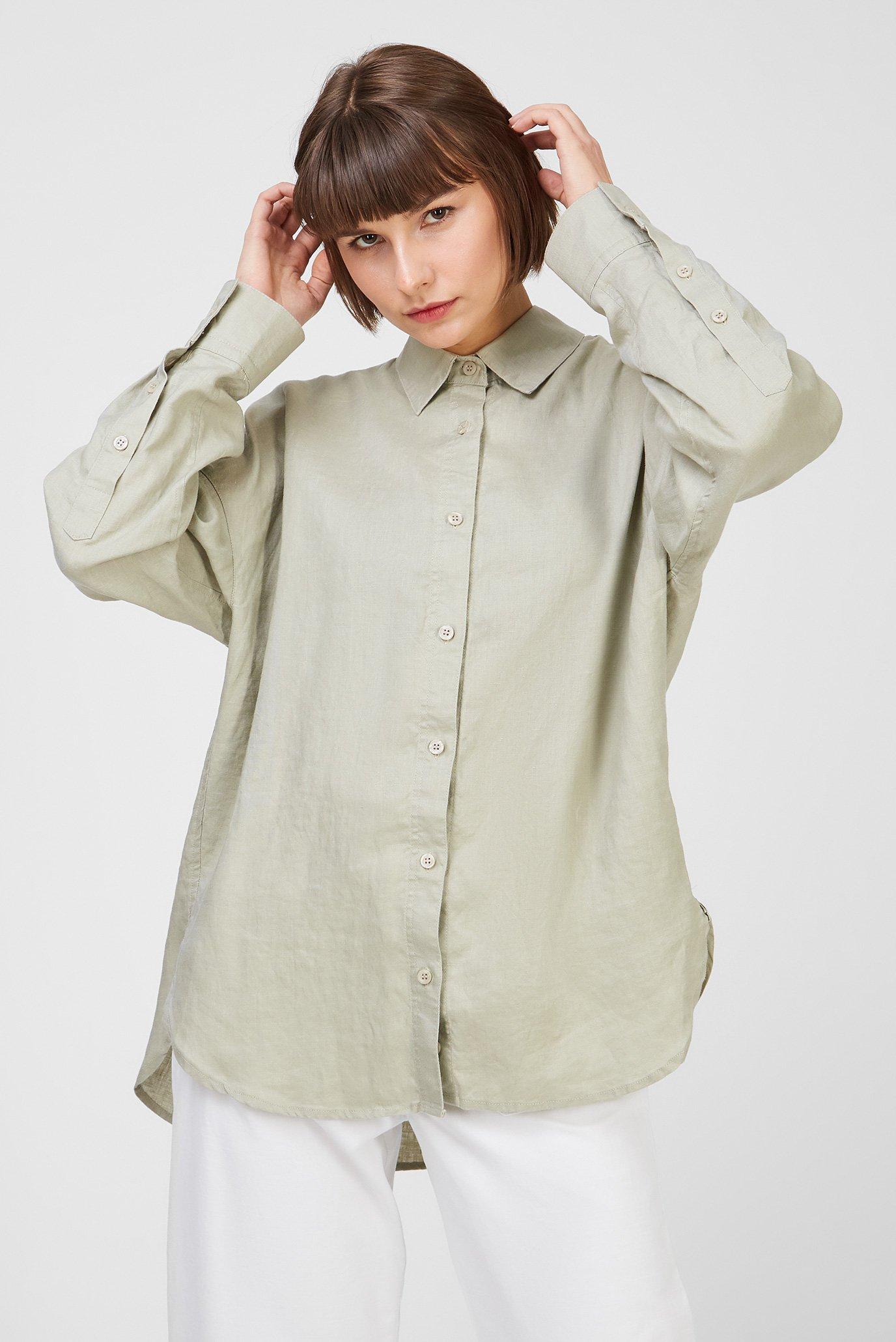Женская оливковая льняная рубашка 1