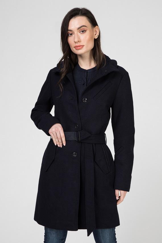Женское темно-синее шерстяное пальто Empral