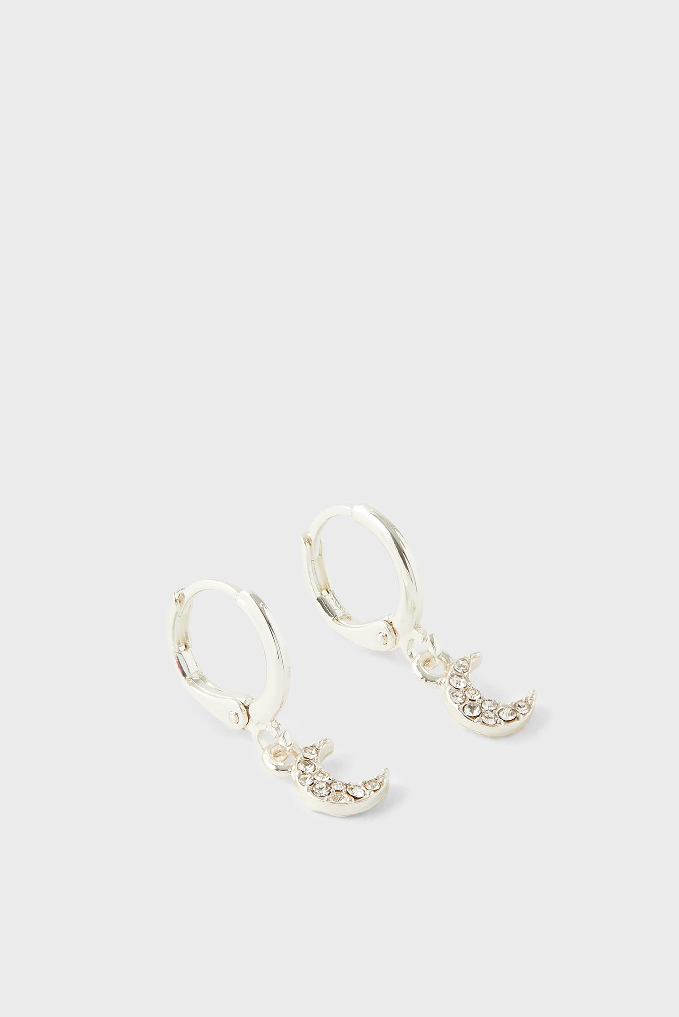 Жіночі сріблясті сережки PAVE MOON 1