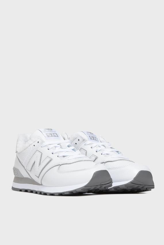 Женские белые кожаные кроссовки 574