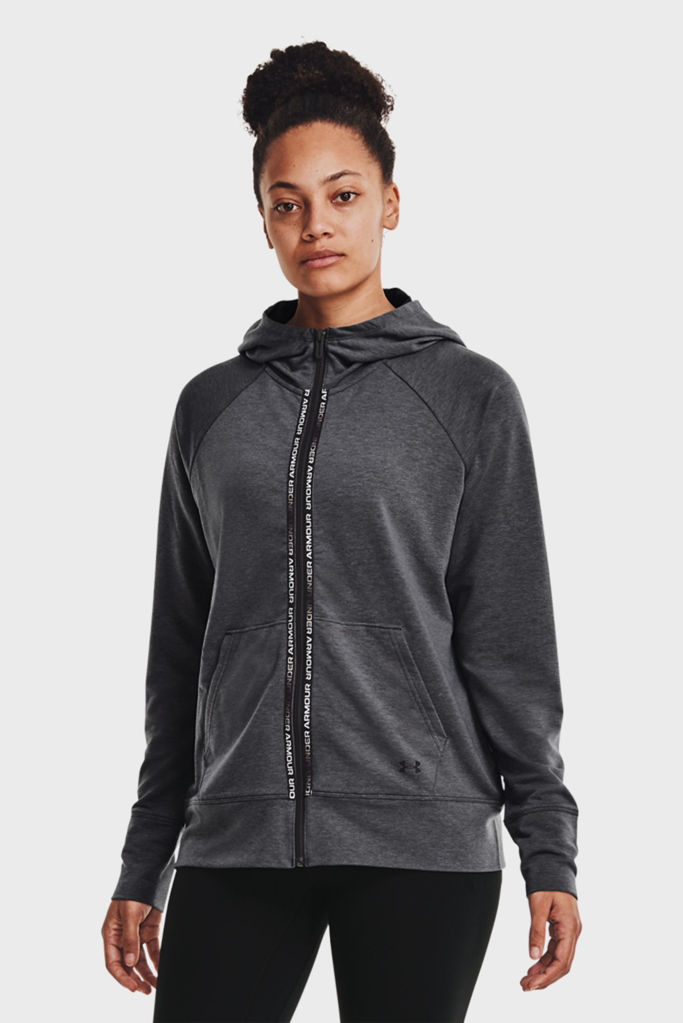 Женское серое худи Rival Terry Taped FZ Hoodie-GRY 1