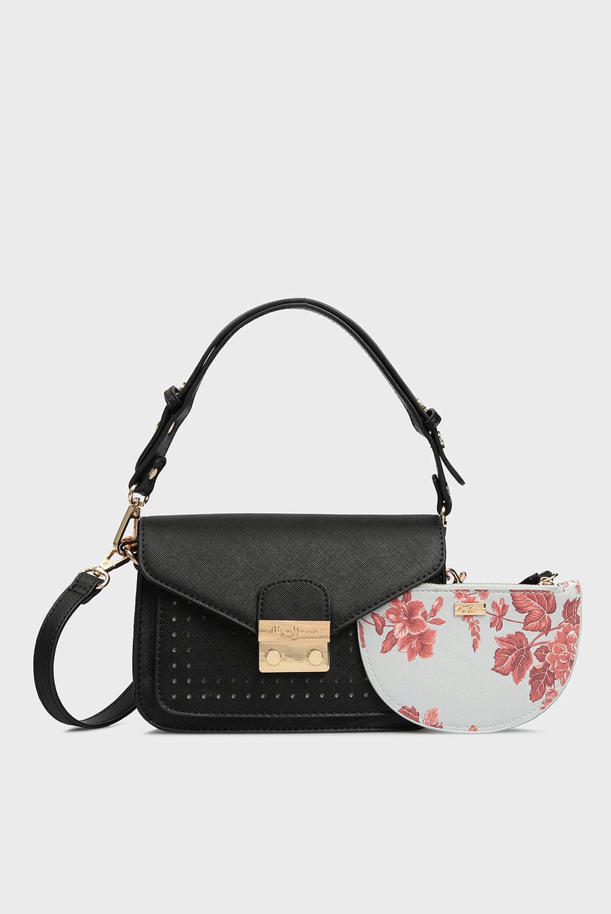 Женская черная сумка на плечо KASSIA