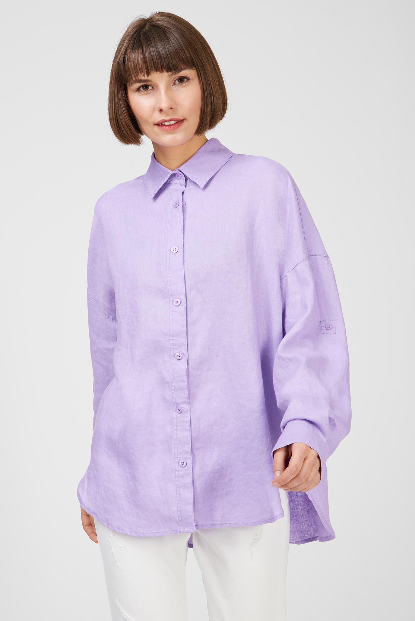 Женская сиреневая льняная рубашка 1