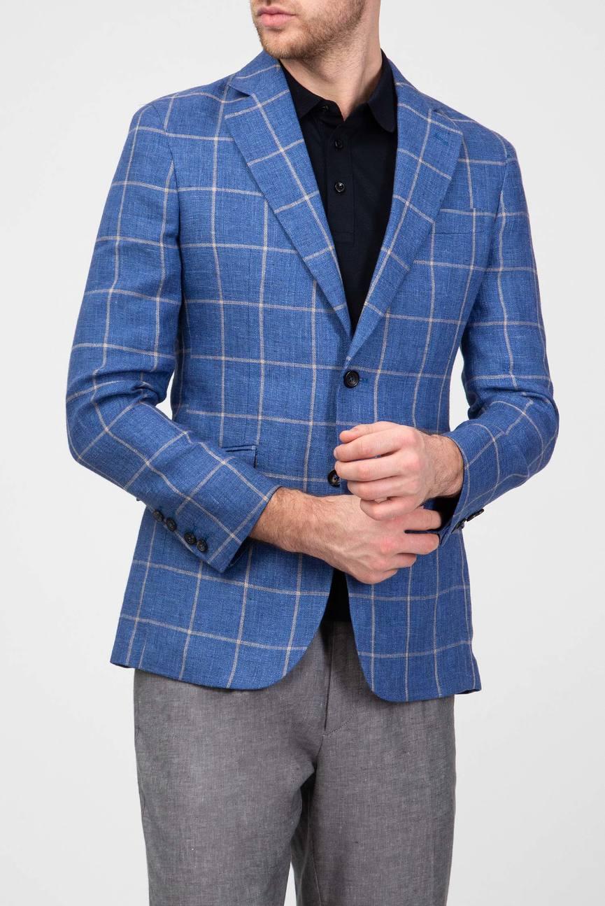 Мужской синий пиджак в клетку