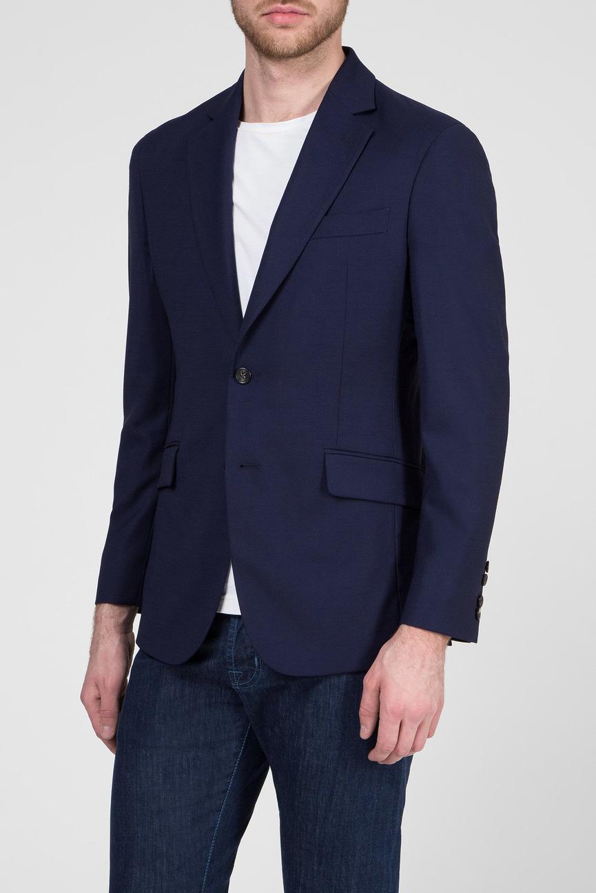 Мужской синий шерстяной пиджак