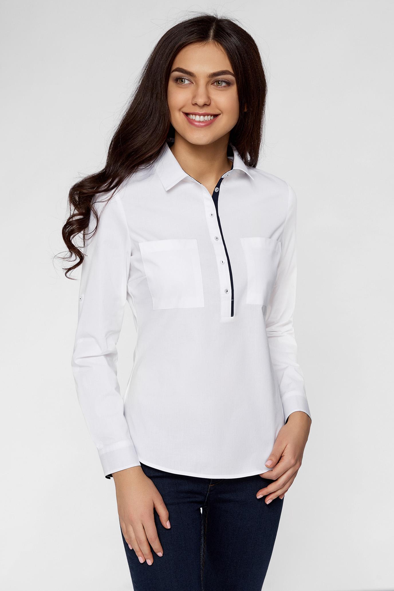 f81969fc4a57818 Купить Женская белая рубашка Oodji Oodji 11403222-3/42468/1000N – Киев,  Украина. Цены в интернет магазине ...