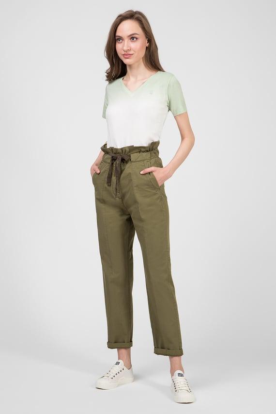 Женские зеленые брюки Paperbag