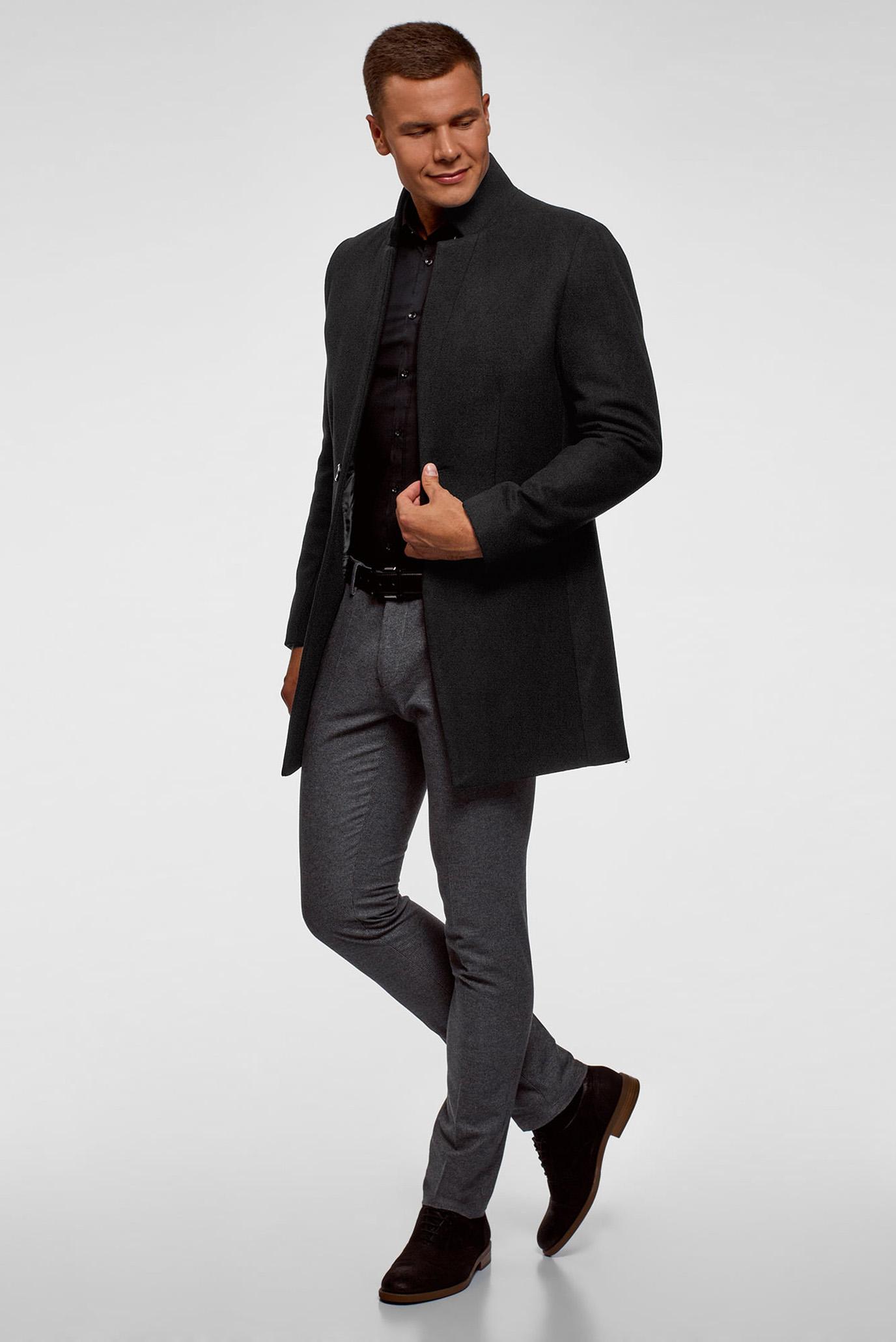 Мужское черное однобортное пальто Oodji