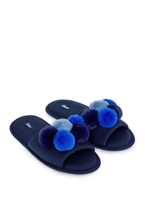 Женские синие тапочки POMPOMS
